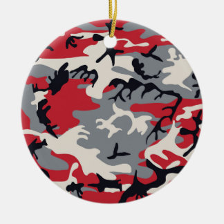 Red Grey Camo Camouflage Pattern Round Ceramic Ornament