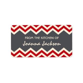 Red grey chevron (zig zag) pattern kitchen labels