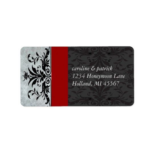 Red Grey Damask  Address Labels -