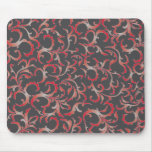 red&grey floral mouse pad