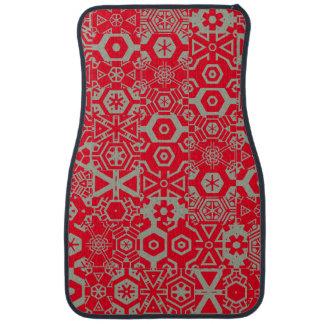 Red Grey Geometric pattern 4Phillip Car Floor Carpet