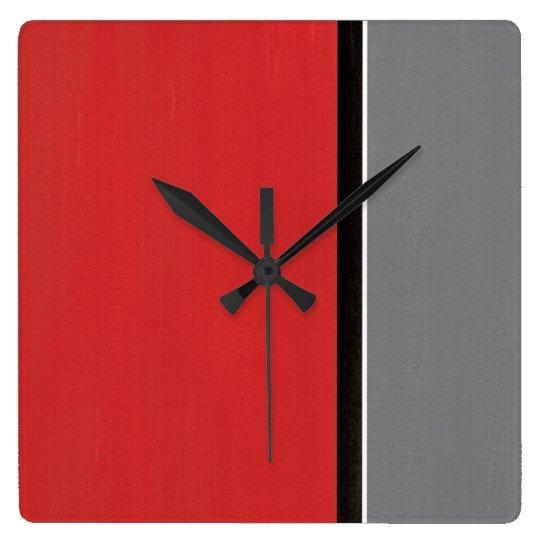 Red Grey Modern Wall Clock