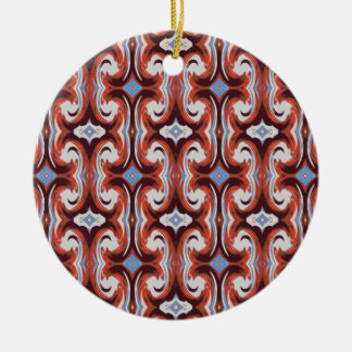 red grey pattern Double-Sided ceramic round christmas ornament