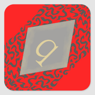 Red & Grey Scroll Monogram Q Diamond Stickers