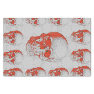 Red Grey Skulls Tissue Paper