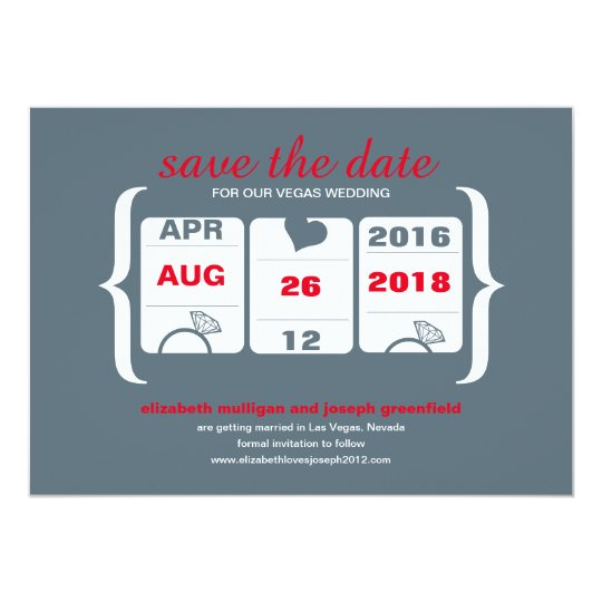 Red Grey Slot Machine Save the Date - Wedding Card
