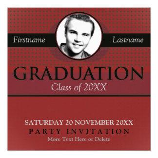 Red & Grey Stylish Graduation w/ Photo Invitation