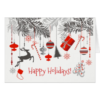 Red, Grey, White Festive Decorations Card