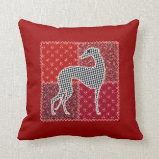 Red greyhound Patchwork Throw Pillow