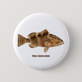 Red Grouper Fish 2 Inch Round Button