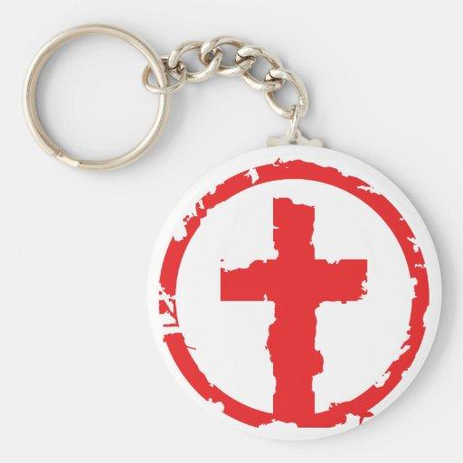 Red  Grunge Cross Keychains