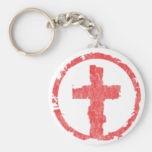 Red Grunge Cross Vintage Keychains