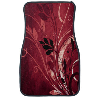 Red Grunge Floral Floor Mat