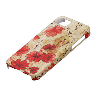 Red Grunge Floral iPhone 5 Cover