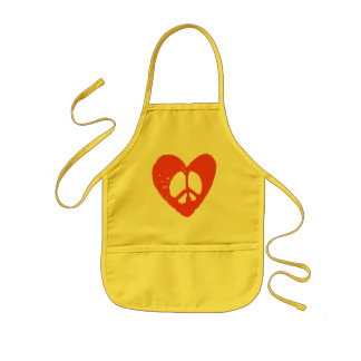 Red Grunge Heart with Peace Sign Kids Apron