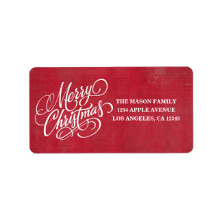 Red Grunge Merry Christmas Script
