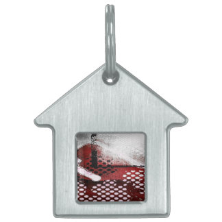 Red Grunge Pet ID Tag