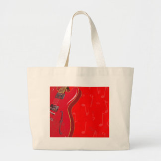 Red Guitar Background Large Tote Bag