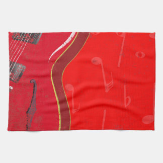Red Guitar Background Towel
