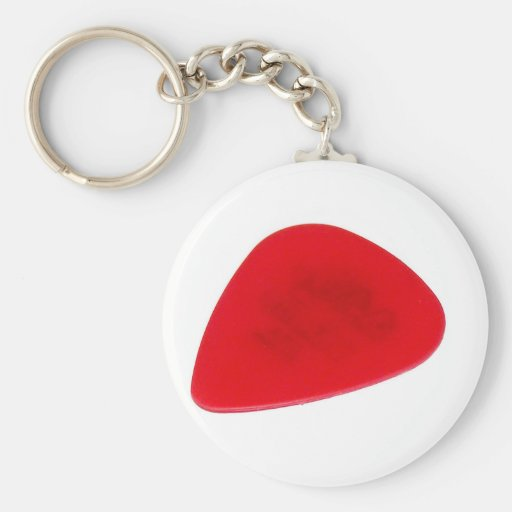 Red Guitar Pick Keychain