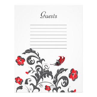 Red & Gunmetal Gray Modern Floral Wedding Letterhead