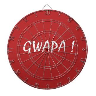 Red gwapa text design cebuano Filipino Tagalog Dartboard