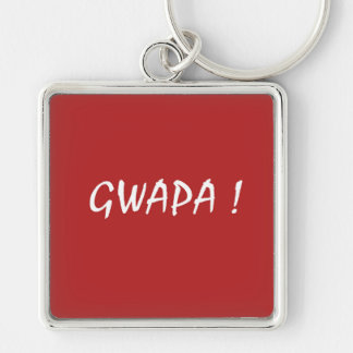 Red gwapa text design cebuano Filipino Tagalog Keychain