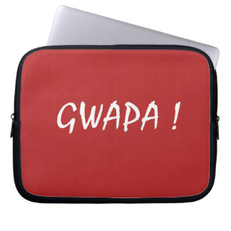 Red gwapa text design cebuano Filipino Tagalog Laptop Sleeve