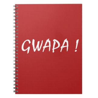 Red gwapa text design cebuano Filipino Tagalog Notebook