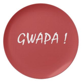 Red gwapa text design cebuano Filipino Tagalog Plate