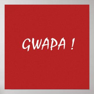 Red gwapa text design cebuano Filipino Tagalog Poster