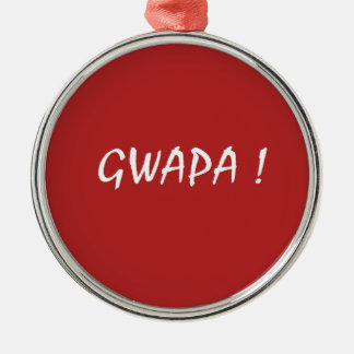 Red gwapa text design cebuano Filipino Tagalog Silver-Colored Round Ornament