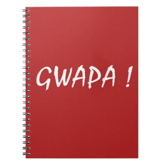 Red gwapa text design cebuano Filipino Tagalog Spiral Notebooks