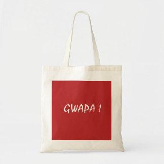 Red gwapa text design cebuano Filipino Tagalog Tote Bag