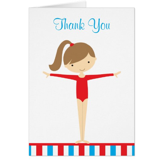 Red Gymnastics Girl Thank You Note Card