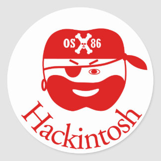 Red Hackintosh OSX86 Pirate Classic Round Sticker