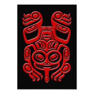 Red Haida Spirit Tree Frog on Black Personalized Invitation