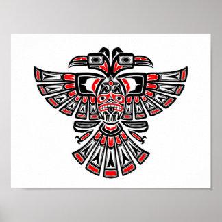 Red Haida Two Headed Spirit Bird on White Poster