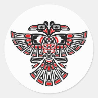 Red Haida Two Headed Spirit Bird on White Round Sticker