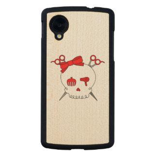 Red Hair Accessory Skull -Scissor Crossbones Carved® Maple Nexus 5 Case