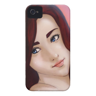 red hair and blue eyes anime girl iPhone 4 case