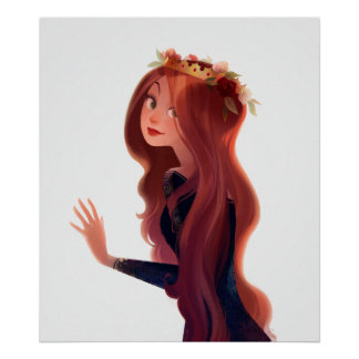 Red hair and roses poster