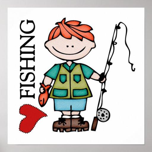 Red Hair Boy I Love Fishing Print