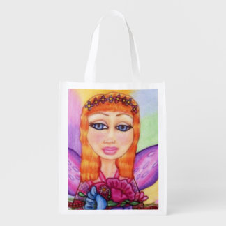 Red Hair Fairy Fae Spring Flowers Market Totes