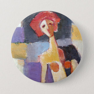 Red Hair Female Painting 3 Inch Round Button