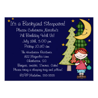 Red Hair Girl Backyard Sleepover 5x7 Invitation