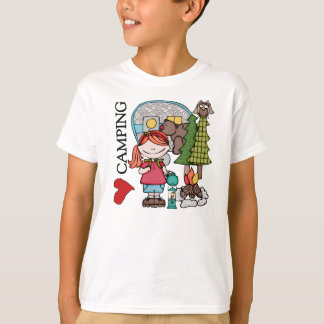 Red Hair Girl I Love Camping T-Shirt