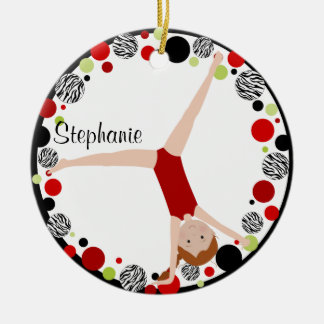 Red Hair Gymnast Red, Black & Green Personalized Round Ceramic Ornament