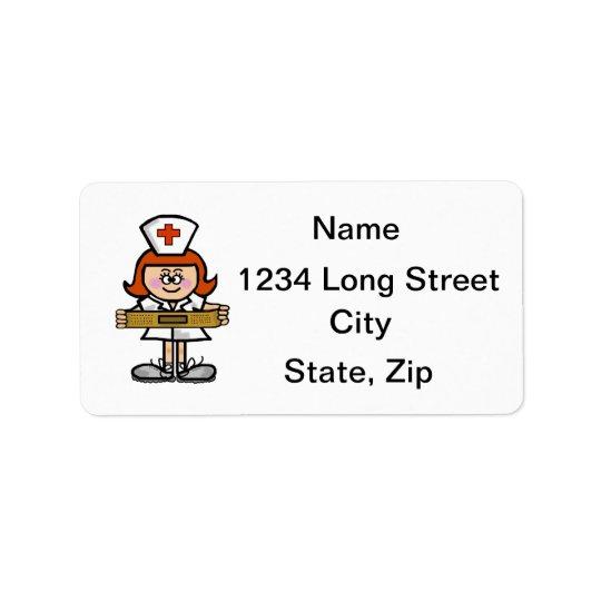 Red Hair or Auburn Female Nurse Address Labels