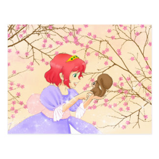 Red hair Princess and squirrel postacrd Postcard